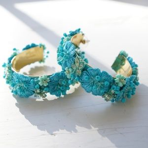 BaubleBar Flower Hoop Statement Earrings